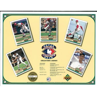 1992 Heroes of Baseball Collector's Show Schedule Commemorative Sheet Brock/Bonds/Gibson