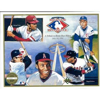 1991 Upper Deck Heroes of Baseball Home Run Hitters Tribute Commemorative Sheet