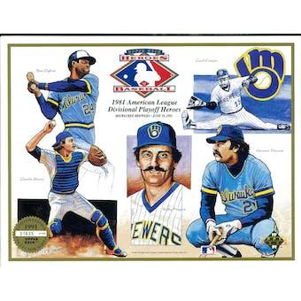 1991 Upper Deck Heroes of Baseball Milwaukee Brewers 1981 Playoff Commemorative Sheet