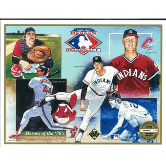 """1991 Upper Deck Heroes of Baseball Cleveland Indians """"Heroes of the 70's"""" Commemorative Sheet"""