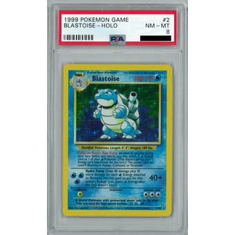 Pokemon Base Set Unlimited Blastoise 2/102 PSA 8