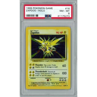 Pokemon Base Set Unlimited Zapdos 16/102 PSA 8