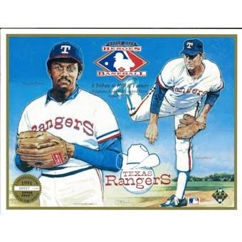 1991 Upper Deck Heroes of Baseball Texas Rangers HOF Tribute Commemorative Sheet