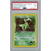 Pokemon Gym Heroes 1st Edition Rocket's Scyther 13/132 PSA 7