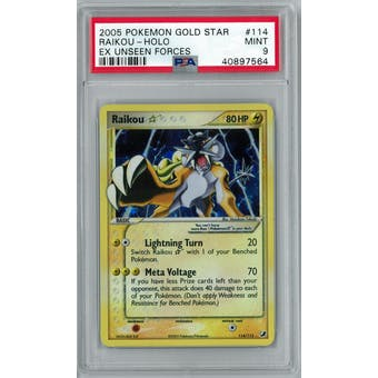 Pokemon EX Unseen Forces Raikou Gold Star 114/115 PSA 9