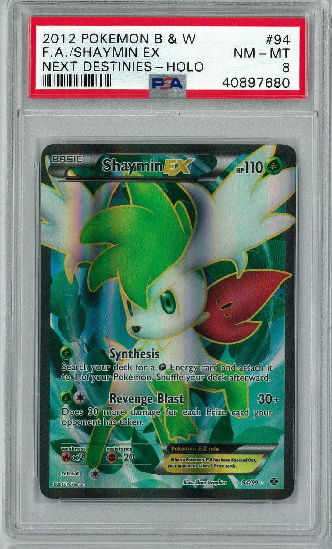 Pokemon Bw Next Destinies Shaymin Ex 9499 Psa 8 Da Card World