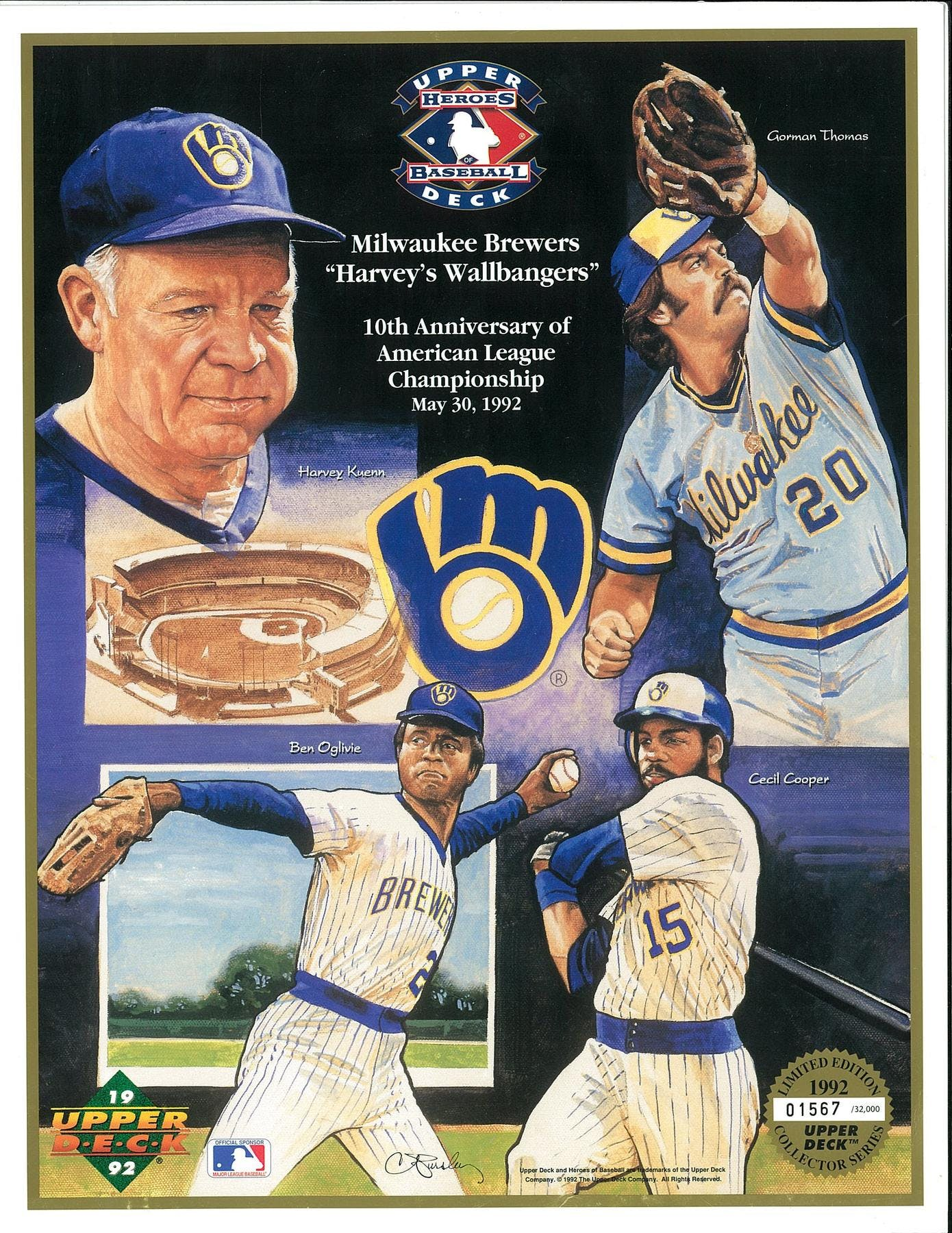 1992 Upper Deck Heroes Of Baseball Milwaukee Brewers Wallbangers Commemorative Sheet