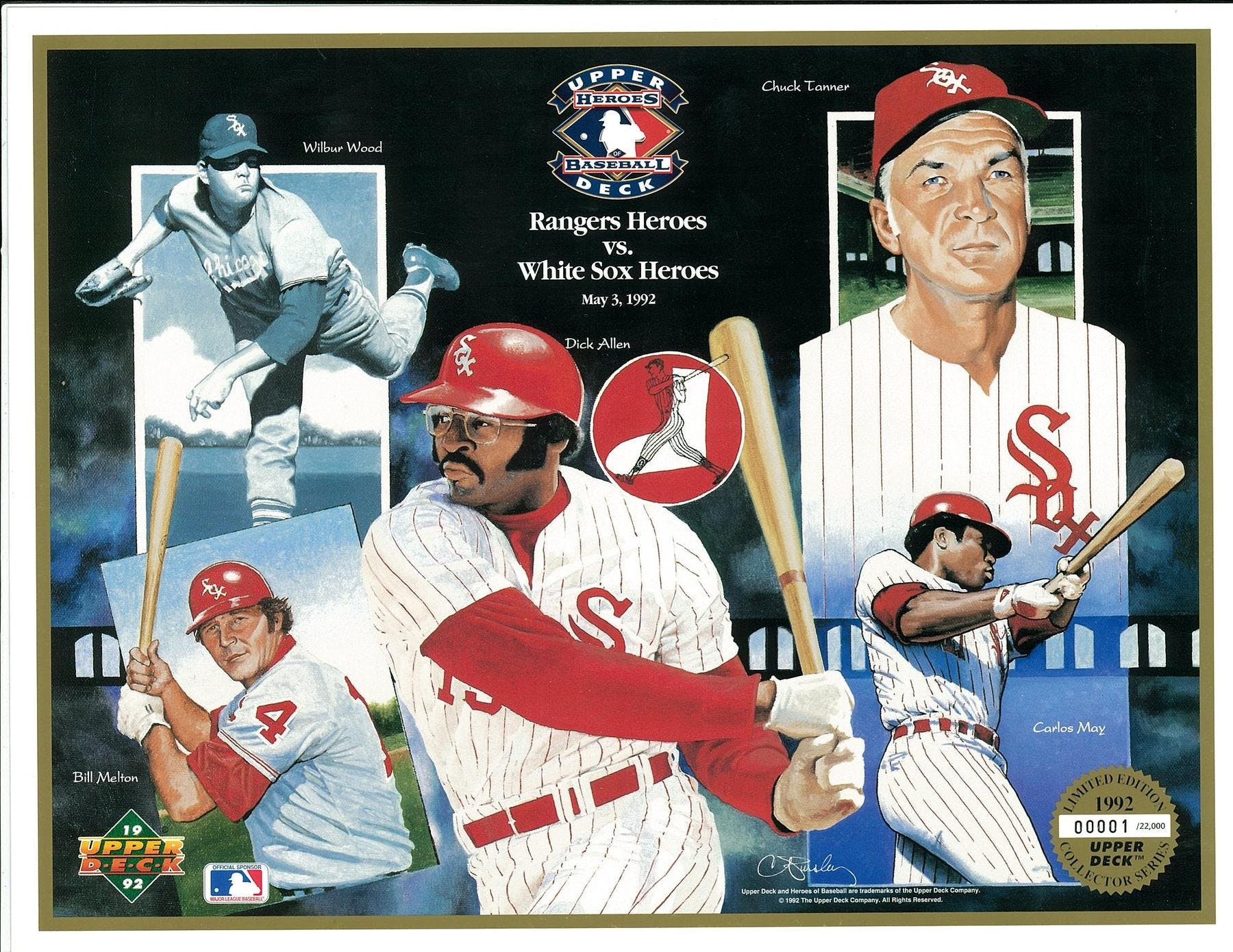1992 Upper Deck Heroes Of Baseball Chicago White Sox Commemorative Sheet