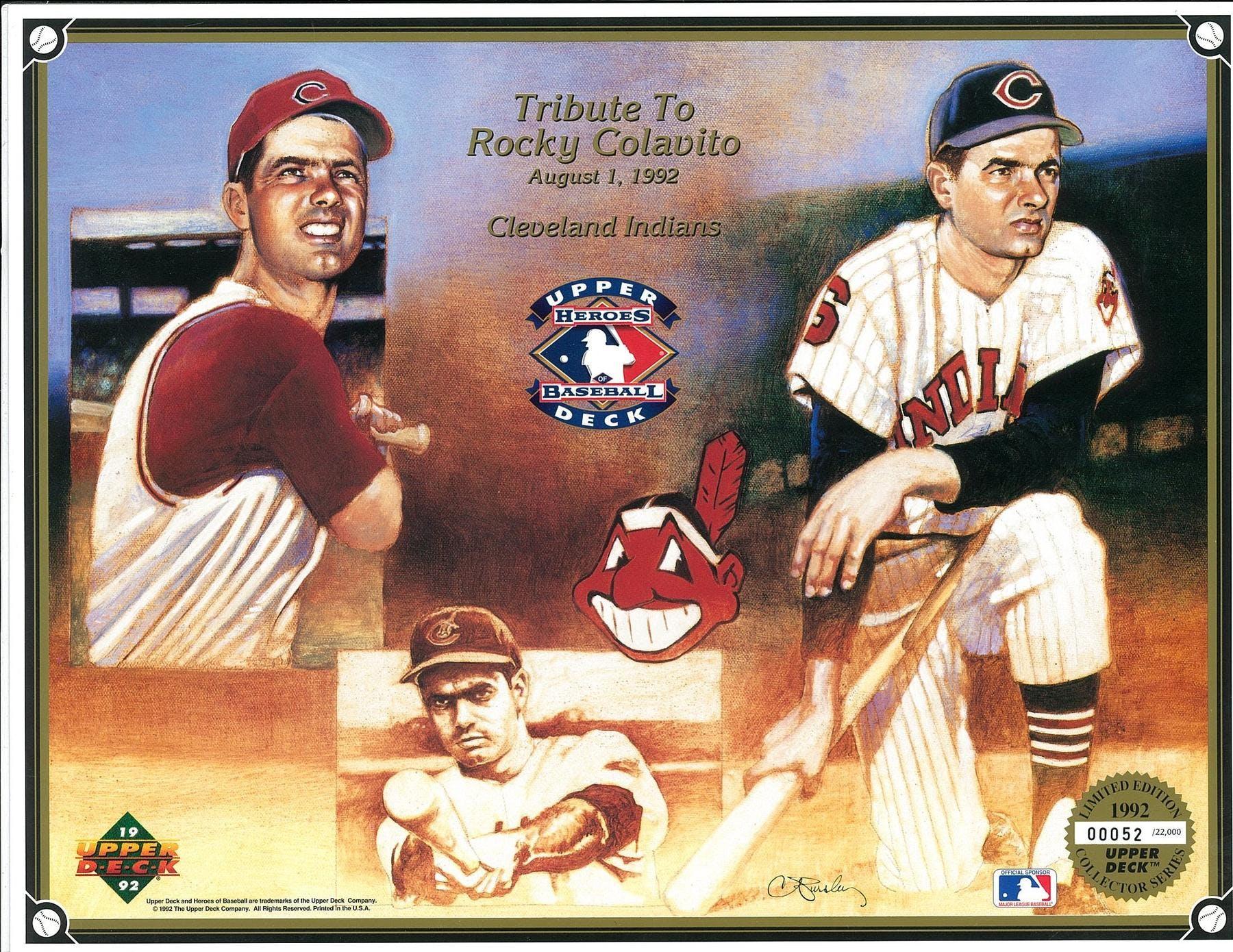 1992 Upper Deck Heroes Of Baseball Rocky Colavito Tribute Commemorative Sheet