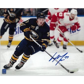 Casey Mittelstadt Autographed Buffalo Sabres 8x10 Blue Jersey Photo