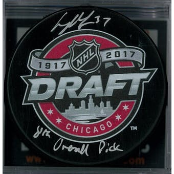 Casey Mittelstadt Autographed Buffalo Sabres Draft Hockey Puck
