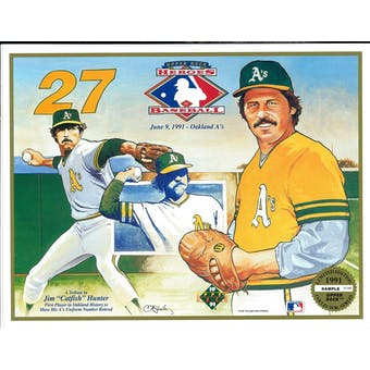 1991 Upper Deck Heroes of Baseball A's Catfish Hunter Tribute Commemorative Sheet