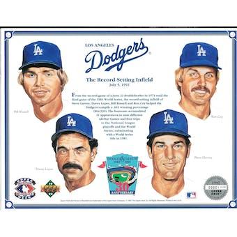 1992 Upper Deck Heroes of Baseball LA Dodgers Record-Setting Infield Commemorative Sheet