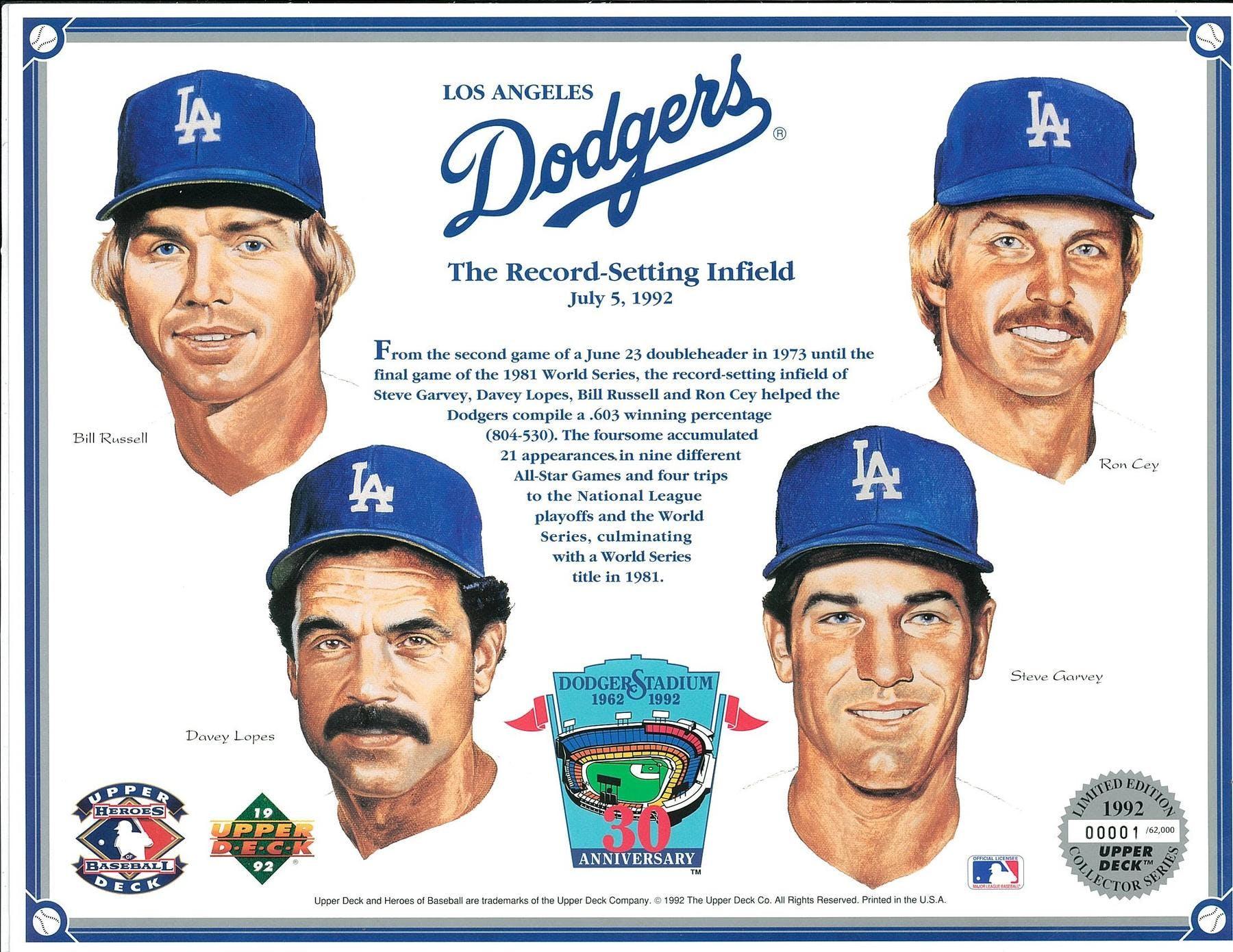 1992 Upper Deck Heroes Of Baseball La Dodgers Record Setting Infield Commemorative Sheet