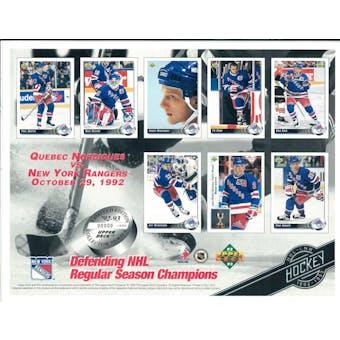 1992/93 Upper Deck New York Rangers Commemorative Sheet Leetch, Domi, Richter