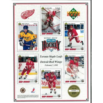 1991/92 Upper Deck Detroit Red Wings Vertical Commemorative Sheet Lidstrom/Yzerman/Fedorov