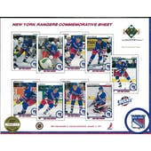 1990/91 Upper Deck New York Rangers Commemorative Sheet Patrick/VanbiesbrouckSheet 2 of 3