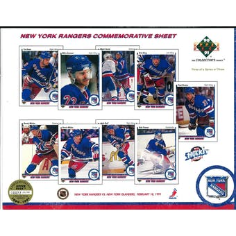 1990/91 Upper Deck New York Rangers Commemorative Sheet Domi/BrotenSheet 3 of 3