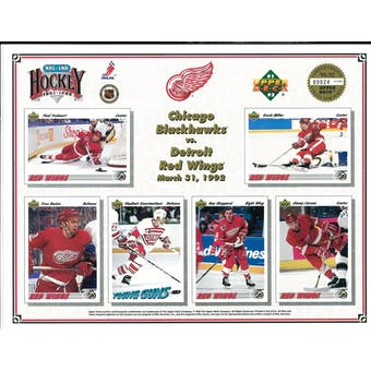 1991/92 Upper Deck Detroit Red Wings Horizontal Commemorative Sheet