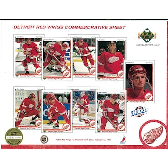 1990/91 Upper Deck Detroit Red Wings Commemorative Sheet Probert/Fedorov