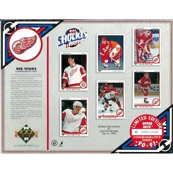 1990/91 Upper Deck Detroit Red Wings Commemorative Sheet Yzerman/Primeau