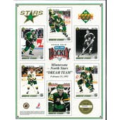 1991/92 Upper Deck Minnesota North Stars Commemorative Sheet Broten/Bellows