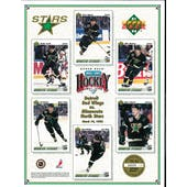 1991/92 Upper Deck Minnesota North Stars Commemorative Sheet Modano/Smith/Gagner