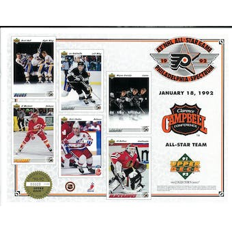 1992 Upper Deck NHL All Star Game Commemorative Sheet Clarence Campbell Conference