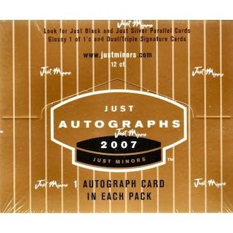 2007 Just Minors Autographs Baseball Hobby Box