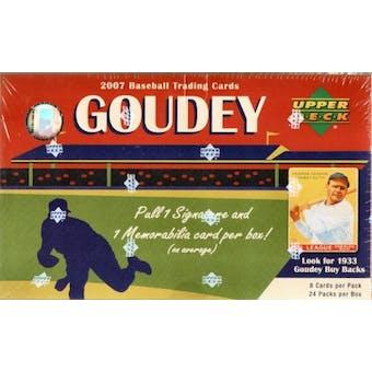 2007 Upper Deck Goudey Baseball Hobby Box