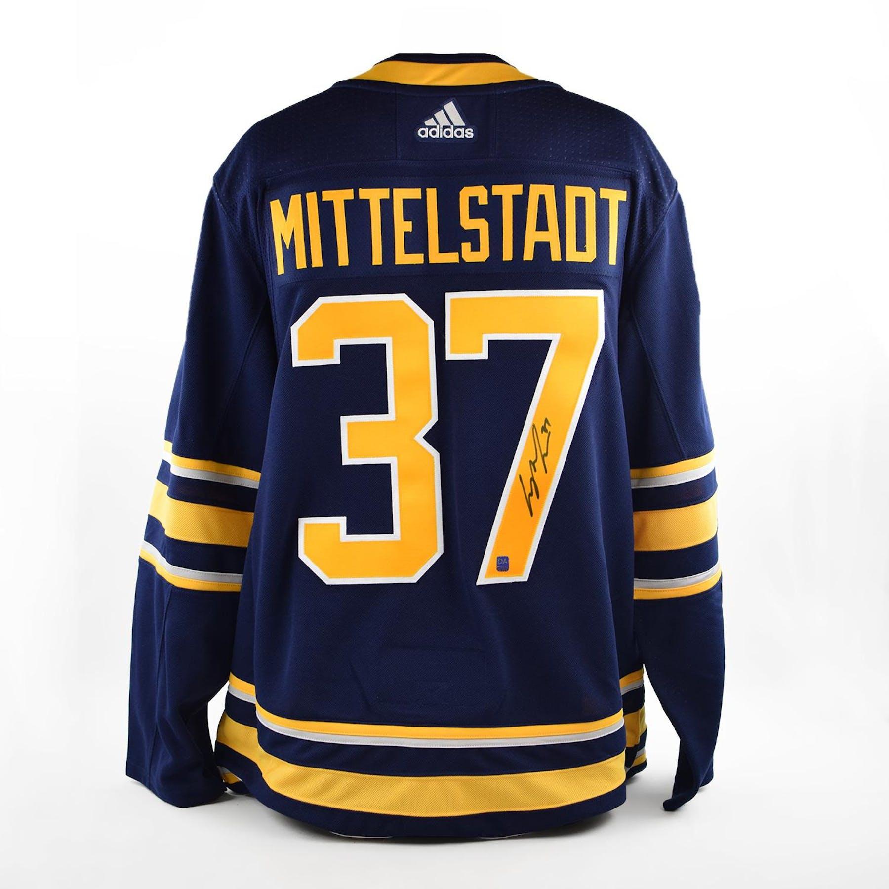 c0f52f84a Casey Mittelstadt Autographed Buffalo Sabres Blue Hockey Jersey | DA Card  World