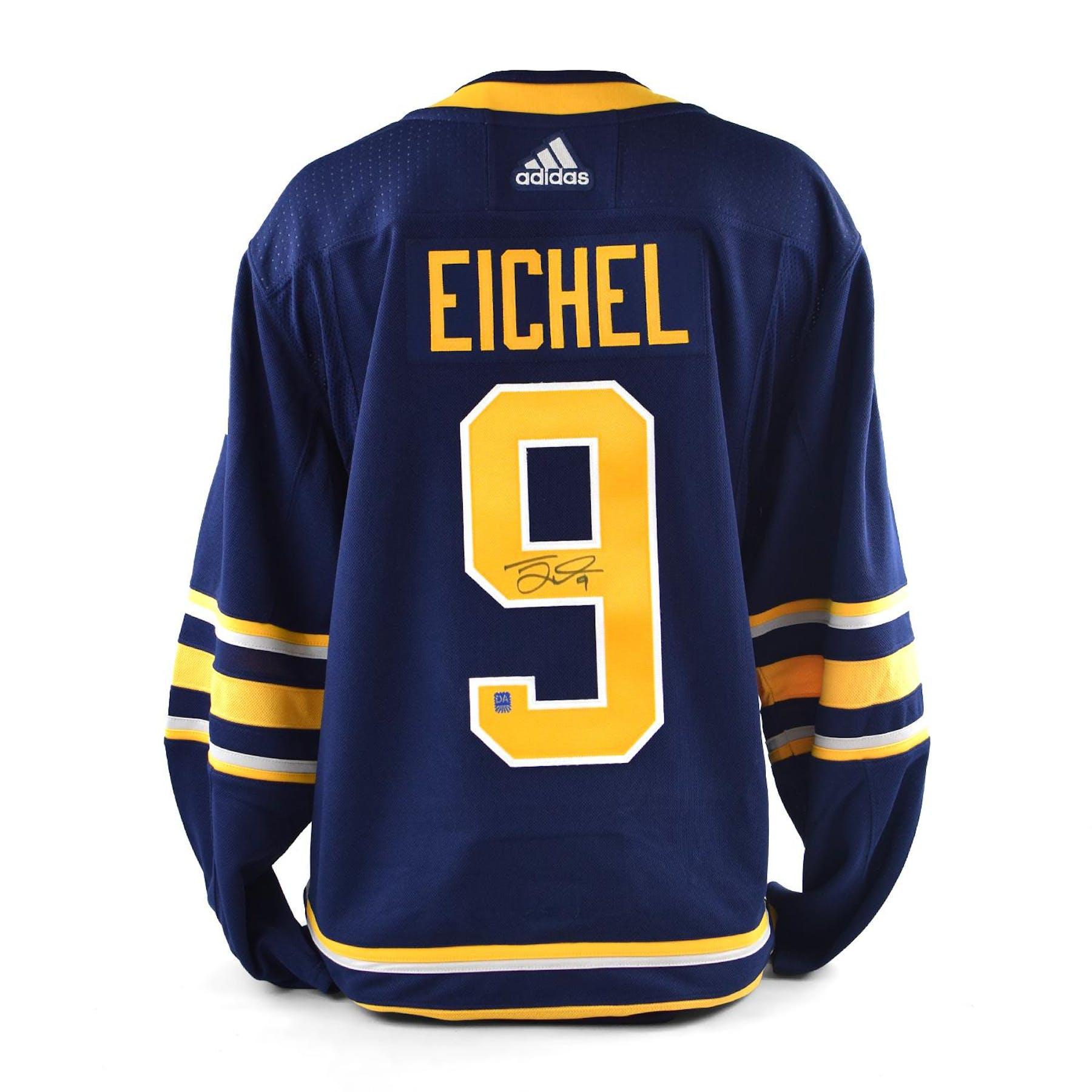 size 40 77c7d d4024 Jack Eichel Autographed #9 Buffalo Sabres Blue Hockey Jersey