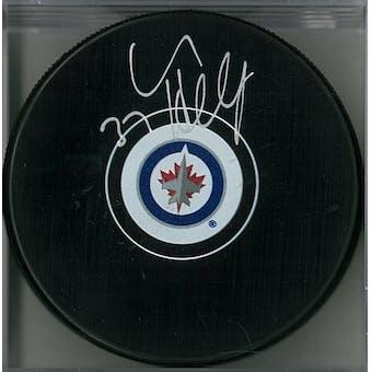 Connor Hellebuyck Autographed Winnipeg Jets Hockey Puck (AJSW COA)
