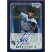 2011 Bowman Chrome Draft Prospect #JF Jose Fernandez Purple Refractor Rookie Auto #02/10