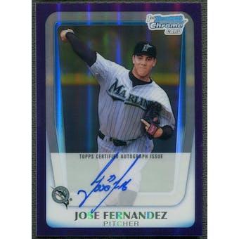 2011 Bowman Chrome Draft Prospect #JF Jose Fernandez Purple Refractor Rookie Auto #02/10