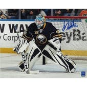 Linus Ullmark Autographed Buffalo Sabres Blue Jersey 8x10