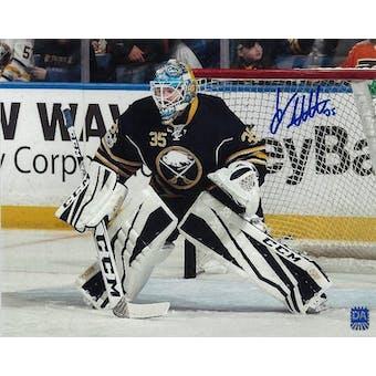 Linus Ullmark Autographed Buffalo Sabres Blue Jersey 8x10
