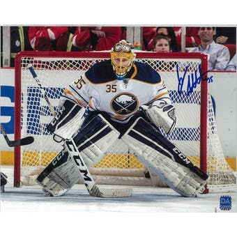 Linus Ullmark Autographed Buffalo Sabres White Jersey 8x10