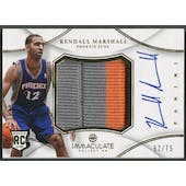 2012/13 Immaculate Collection #KM Kendall Marshall Rookie Jumbo Patch Auto #52/75