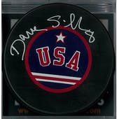 Dave Silk Autographed USA Hockey Miracle On Ice Puck (DACW COA)