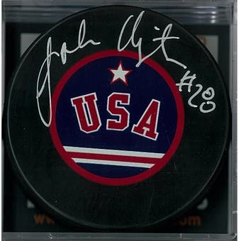 "John Harrington ""Miracle on Ice"" Autographed USA Hockey Puck (DACW COA)"