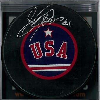 """Steve Janaszak """"Miracle on Ice"""" Autographed USA Hockey Puck (DACW COA)"""