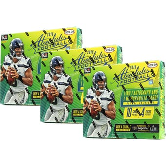 2018 Panini Absolute Football 4-Pack Mega Box (Lot of 3)