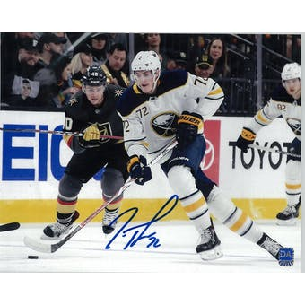 Tage Thompson Autographed Buffalo Sabres White Jersey 8x10