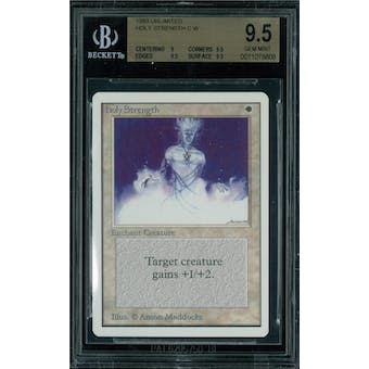 Magic the Gathering Unlimited Holy Strength BGS 9.5 (9, 9.5, 9.5, 9.5)
