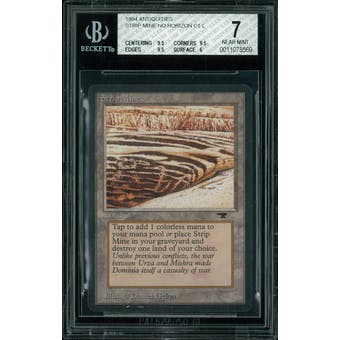Magic the Gathering Antiquities Strip Mine, no horizon  BGS 7 (9.5, 9.5, 9.5, 6)
