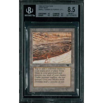 Magic the Gathering Antiquities Strip Mine, small tower in forest  BGS 8.5 (9.5, 8.5, 8.5, 9.5) Sick Deal