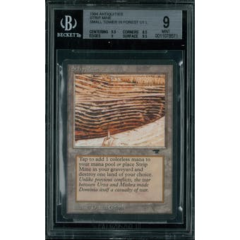 Magic the Gathering Antiquities Strip Mine, small tower in forest  BGS 9 (9.5, 8.5, 9, 9.5)