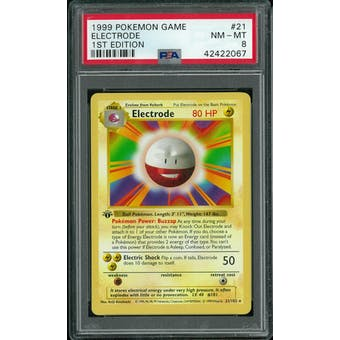 Pokemon Base Set 1st Edition Shadowless Electrode 21/102 PSA 8