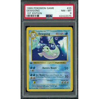 Pokemon Base Set 1st Edition Shadowless Dewgong 25/102 PSA 8